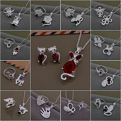 New Fashion Ladys Gift Jewelry 925Silver & Stone Necklace/Earring/Ring Set+Box