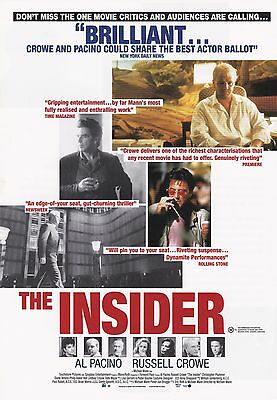 Promotional Movie Sheet - THE INSIDER (1999) (Al Pacino, Russell Crowe)