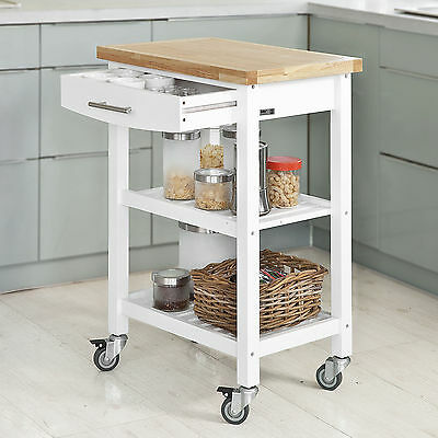 SoBuy® Wood Kitchen Trolley, Drinks Serving Storage Trolley Cart, FKW28-WN, UK