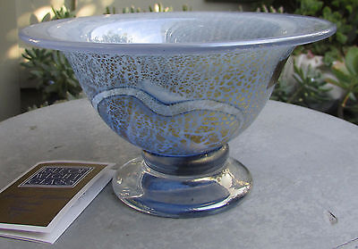 Stunning Isle Of Wight Studio Glass Bowl Golden Peacock