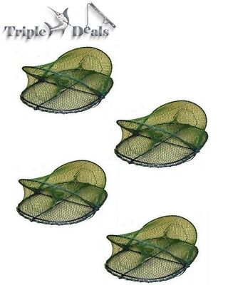 4 x Folding Opera House Traps With 75mm Rings - Green Yabbie Nets-Red Claw Traps