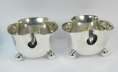 1918 Solid Silver Three Footed Pair of Salt Cellar Dishes