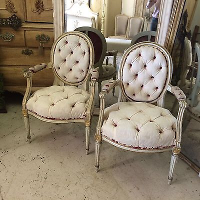 Pair Of Fully Buttoned 19th Century French Bedroom Chairs