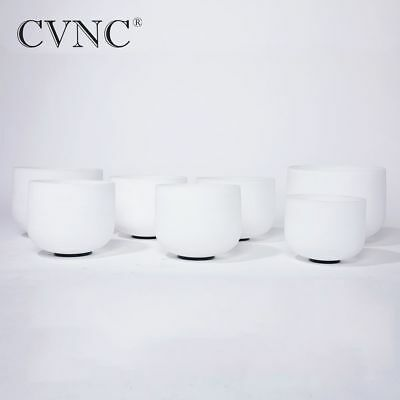 """Chakra tuned set of 7 Frosted Quartz Crystal Singing Bowl 8""""-12 with 4 bowl case"""