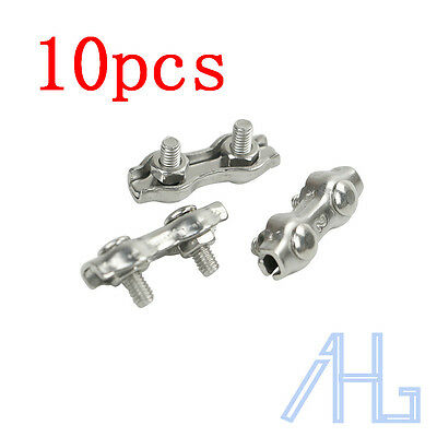 10Pcs 2mm Stainless Steel Duplex Wire Rope Grips Clamp Chandlery Marine New