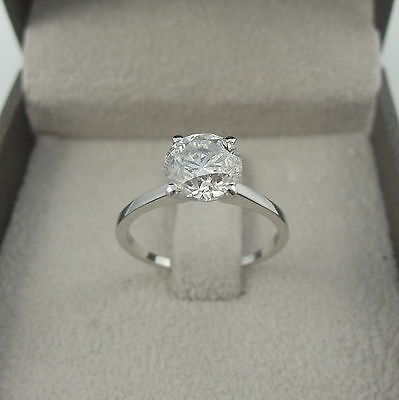 Certified 3.00 Ct H Vs1 Round Cut Diamond Solitaire Ring 14 K White Gold