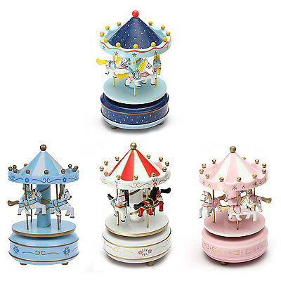 Musical carousel horse wooden carousel music box toy child baby game C2K3