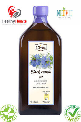 Black Cumin Oil / Black Seed Oil cold pressed, unrefined - Glass Bottle - NEOVIT