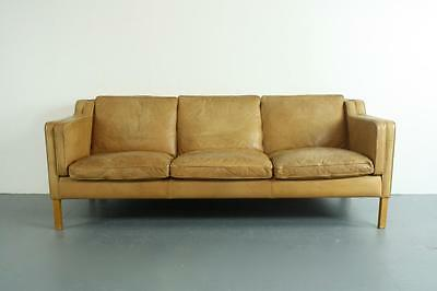 Vintage Danish Camel Leather 3 Seater Sofa Mogensen Style Midcentury #2008
