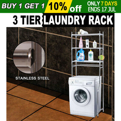Over Laundry Washing Machine Bathroom Storage Rack Shelf 3 Tiers Unit Organizer