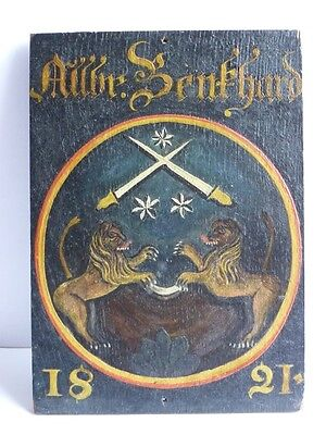 Antique wooden plaque with the image of the coat of arms, 1821 year. Collectible