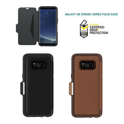 Otterbox Strada series for Samsung Galaxy S8 Flip Leather Case Cover Black Brown