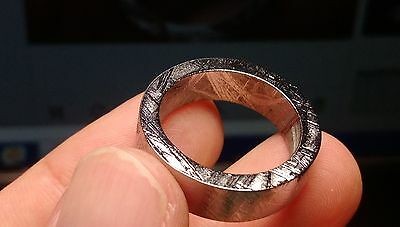 Beautiful and Unique GIBEON IRON NICKEL METEORITE RING 6mm WIDE BAND AAA5