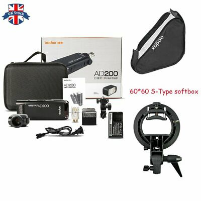UK Godox 2.4 TTL 1/8000s Two Heads AD200 Flash+60*60 S-Type Bracket softbox Kit