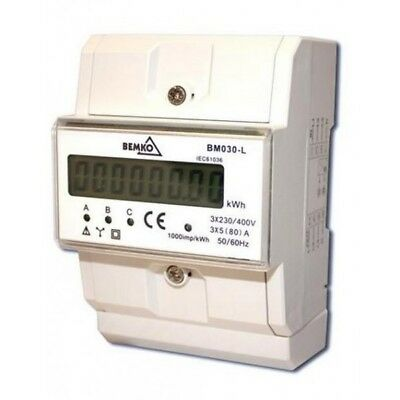 Digital Electric Meter LCD 3P 3x5 (80) A IP20 Rotation Counter for DIN