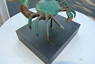 CRAB blue swimmer MUD CRAB heavy on BASE solid aged brass heavy statue