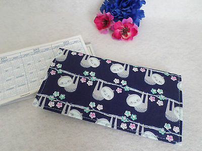 Cute Sloths! Fabric Checkbook Cover, NEW Handmade