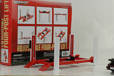 Lift Garage Equipment Diorama 4 Columns Lift Variable Red 1:18
