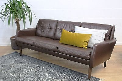 Danish Midcentury Vintage Brown Leather Three Seater Sofa 60s 1960s Retro