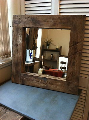 Square farmhouse rustic wooden mirror chunky wide frame Dark Brown