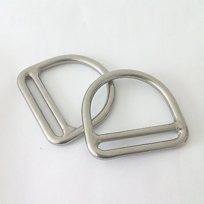 "2 x 1/4"" D Ring With Bar for Webbing Strap 2"" Marine Boat 316 Stainless Steel"