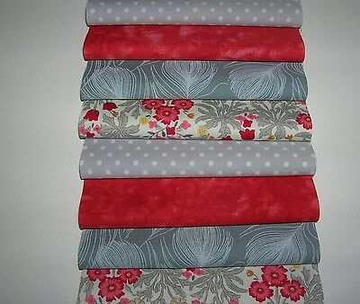 """32 x 5"""" CHARM PACK RED & GREY 100% COTTON PATCHWORK/QUILTING/CRAFTS RG5"""