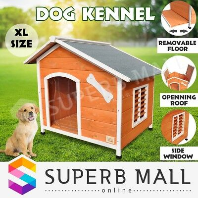 New Extra Large Pet Dog Kennel House Timber Wooden Log Cabin Wood Indoor Outdoor
