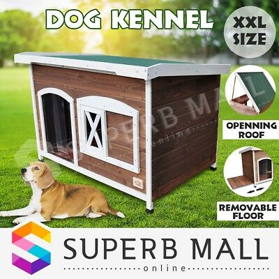 XXL Pet Dog Timber House Flat Roof Wooden Kennel Home Box Cabin Indoor Outdoor