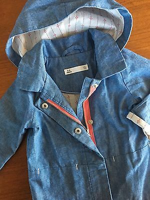 Size 3-6M (00) ~ TARGET ~ Blue Chambray Zip Front Hooded Jacket ~ AS NEW!