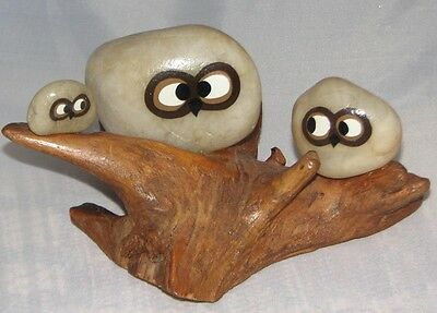 Retro Vintage Rock Wood Art Owl Family Shelf Display Hand Made P L