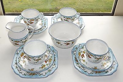 Melba Bone China 1940s Hand Painted Pattern 3044 Swallows 14 Pieces Cups Saucers