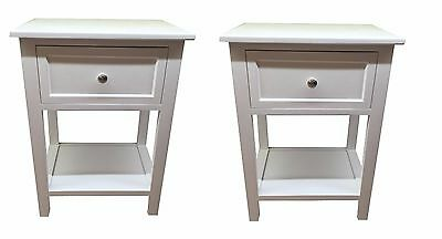 Set of 2 White Bedside Table Cabinet Chest with Shelf and drawer Storage Unit