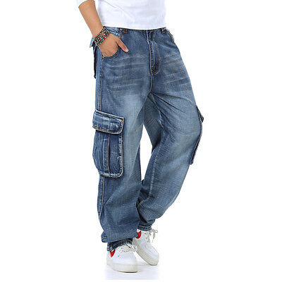 Relaxed Fit Mens Jeans Cargo Work Pants Big & Tall Casual Plus Size 30-46W 32L