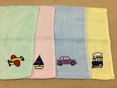 Embroidered Transport Bamboo Face Washers - Baby Shower Newborn Gift