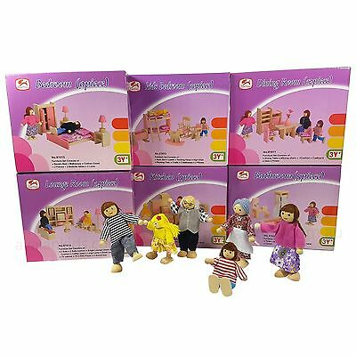 BNIB Wooden Doll House Furniture + 6 Doll Toy Set 6 Room Miniature Pretend Play