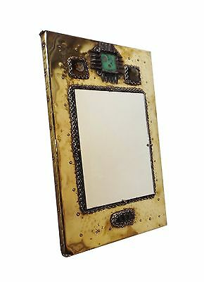 Rare Art and Crafts  Brass Glagow School  Mirror / Miroir Laiton circa 1970