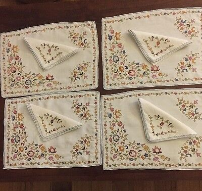 Set Of Vintage Hand Embroidered Placemats And Serviettes.. Superb Needlework