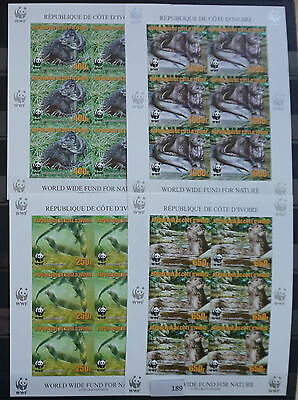 S0 0189 WWF Animales Ivory coast MNH 2005 Otter Reimpresión 4 Imperf Sheets