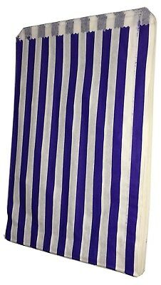"100 SMALL BLUE & WHITE STRIPE PAPER BAGS SIZE 5"" X 7"" CANDY GIFT Pick n Mix"