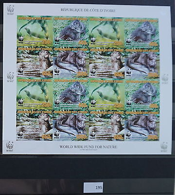 S0 0195 WWF Animals Ivory coast MNH 2005 Otter Reprint 4 Imperf Sets