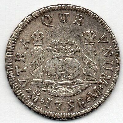 Mexico 2 Reales 1756 MoM (91.7% Silver) Coin