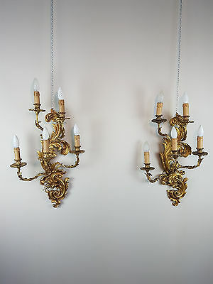 20th Century Pair of Antique French Louis XV style sconces ormolu 5 Light