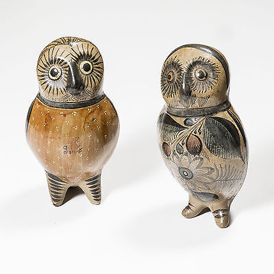 Two Beautifully Decorated Ceramic Owls
