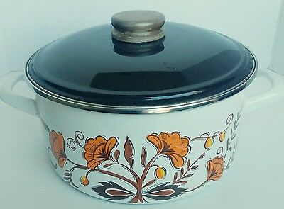 Retro Made In Yugoslovia Cooking Pot Cookware Floral Enameled Great Condition