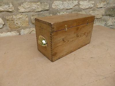 Vintage Small Pine Box.  Brass Catches + Cup Handles.