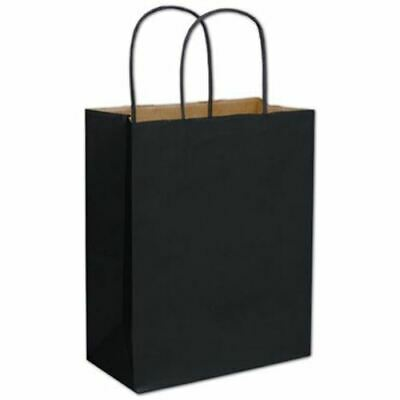 250 Black Color-on-Kraft Paper Bags Shoppers 8 1/4 x 4 3/4 x 10 1/2""