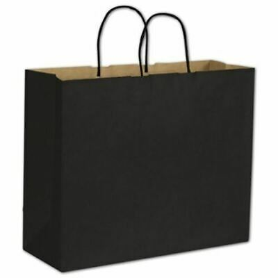 250 Black Color on Kraft Shoppers Paper Bags Gift Merchandise 16 x 6 x 12 1/2""