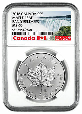2016 Canada 1 Oz .9999 Silver Maple Leaf $5 Coin NGC MS69 ER