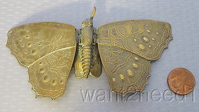 antique 19C Avery & Son Redditch ENGLISH BRASS BUTTERFLY NEEDLE CASE figural