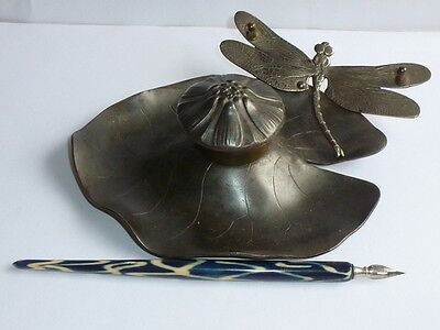 Beautiful antique zinc Inkwell with pen,